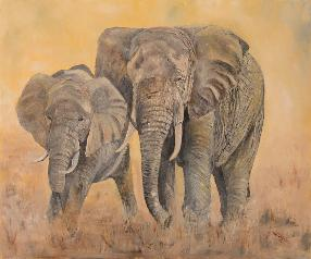 Mother Elephant with Young