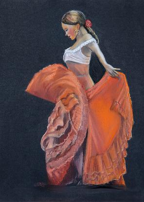Red Flamenco in pastel